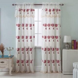 RT Designers Vittoria Embroidered 84-inch Satin Layered Rod Pocket Curtain Panel