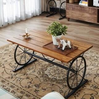 Strick & Bolton Gavin Industrial Wheel Coffee Table