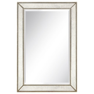 Champagne Beed Beveled Rectangular Mirror,Bathroom,Bedroom,Living Room,Ready to Hang - Clear