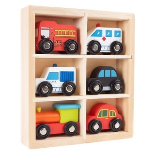 Wooden Car Play Set-6-Piece Mini Toy Vehicle Set by Hey! Play!