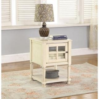 Best Master Furniture Antique-finish Beige Poplar Hardwood/Glass Square Side Table