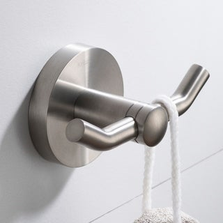 KRAUS Elie KEA-18802 Bathroom Robe and Towel Double Hook in Chrome, Brushed Nickel, Matte Black Finish