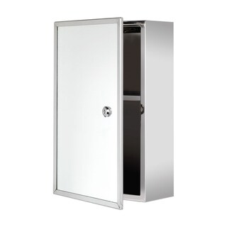 """Ketcham Cabinets Front Keyed Lock Surface Mounted Polished Stainless Steel Medicine Cabinet - 9. 75""""W x 15. 75""""H"""