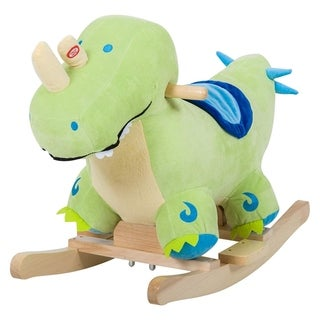 Kids Plush Ride-On Rocking Horse Toy Dinosaur Ride on Rocker - Green with Realistic Sound