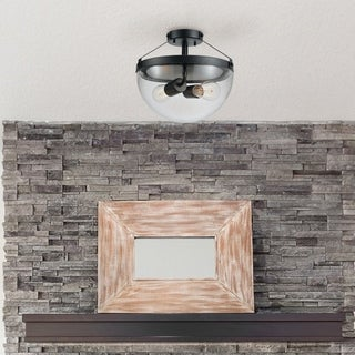 Belsize 2-Light Semi-Flush Mount Ceiling Light with Clear Glass Shade