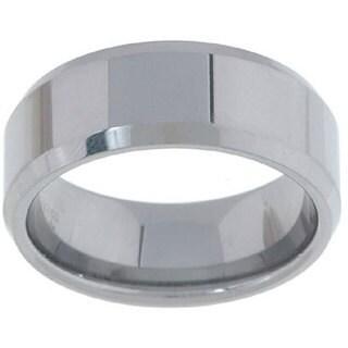 Men's Tungsten Carbide Beveled-edge Band (8 mm)