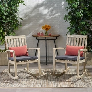 Montrose Traditional Outdoor Acacia Wood Rocking Chairs (Set of 2) by Christopher Knight Home