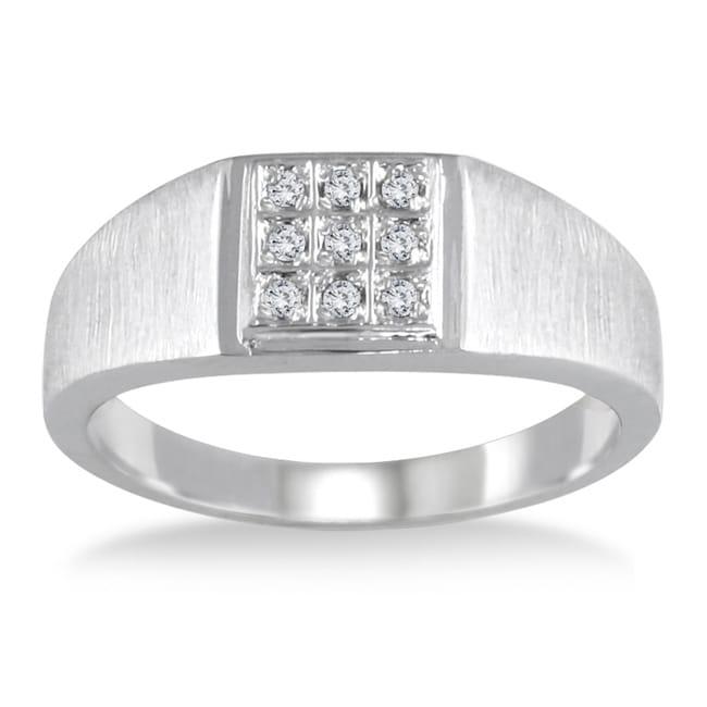 Marquee Jewels 10k White Gold 1/10ct TDW Diamond Men's Ring (I-J, I2-I3)