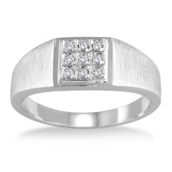 Marquee Jewels 10k White Gold 1/10ct TDW Diamond Men's Ring (I-J, I2-I3)