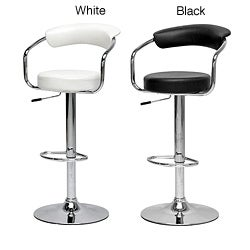 White Omicron Adjustable Bar Stools (Set of 2)