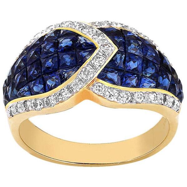 18k Gold 2/5ct TDW Diamond Sapphire Cocktail Ring (G-H, VS-SI)