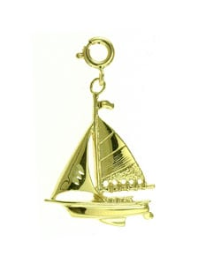 14k Yellow Gold Spring-ring Sailboat Charm