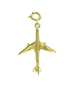 14k Yellow Gold Airplane Charm