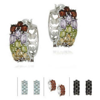 Glitzy Rocks Sterling Silver 10.2 CTW Gemstone 3-tier Hoop Earrings
