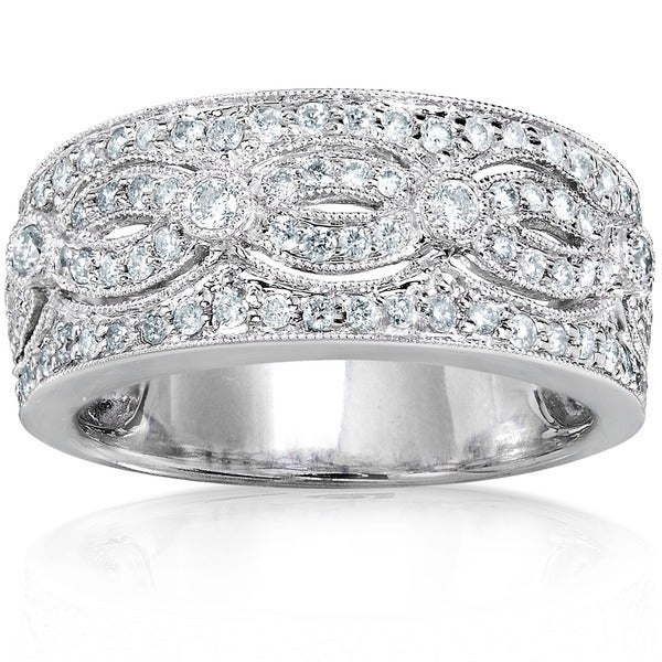 Annello 14k White Gold 1/2ct TDW Vintage Pave Diamond Anniversary Band (H-I, I1-I2)