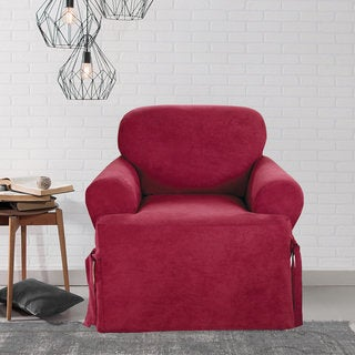 Sure Fit Smooth Suede T-cushion Chair Slipcover