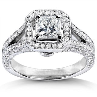 Annello 14k White Gold 1-1/3ct TDW Princess Cut Diamond Halo Wedding Ring