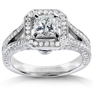 Annello 14k White Gold 1-1/3ct TDW Princess Cut Diamond Halo Wedding Ring with Bonus Item