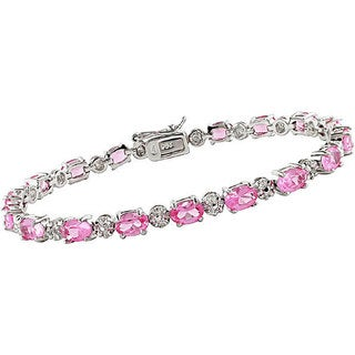 Miadora Sterling Silver Lab-created Pink Sapphire and Diamond Bracelet