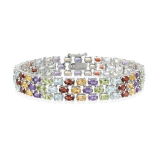 Glitzy Rocks Sterling Silver 27 CTW Multi Gemstone Bracelet