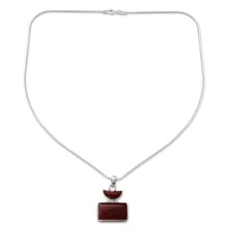 Crescent Moon Red Onyx Set in 925 Sterling Silver with Snake Chain Unique Contemporary Womens Choker Pendant Necklace (India)