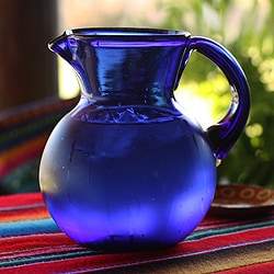 Glass Cobalt Light Pitcher (Mexico)