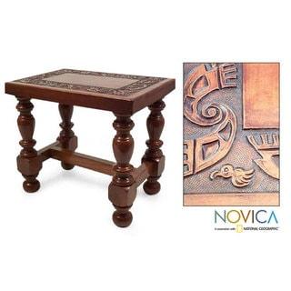 Cedar and Leather Inca Accent Table (Peru)