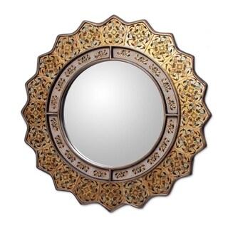 Handmade Reverse Painted Marigold Glass Mirror (Peru) - Yellow