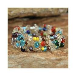 Pearl and Quartz 'Rainbow Solstice' Bracelet (Thailand)