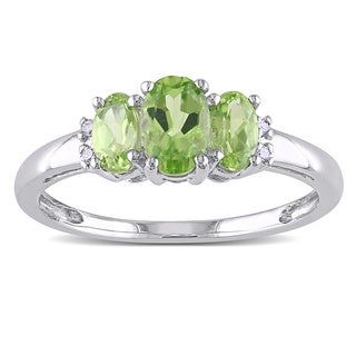 10k White Gold Oval Peridot & Diamond Ring