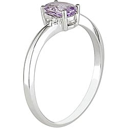 Miadora 10k White Gold Oval Amethyst Ring