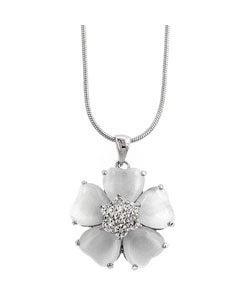 Kate Bissett Silvertone White Cat's Eye CZ Flower Necklace