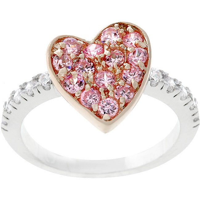 Kate Bissett Two-tone Pink Cubic Zirconia Heart Ring