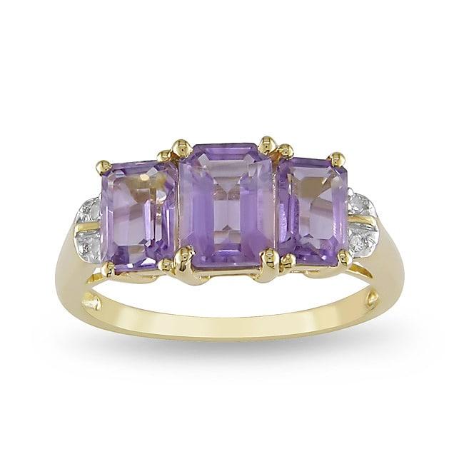 Miadora 10k Yellow Gold Emerald-Cut Amethyst Ring