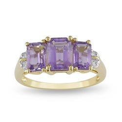 Miadora 10k Yellow Gold Emerald-Cut Amethyst Ring