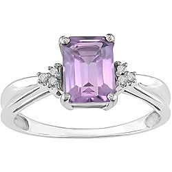 Miadora 10k White Gold Emerald-cut Amethyst Ring