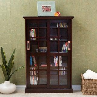 Espresso Sliding Door Media Storage Cabinet