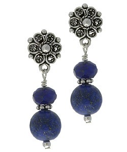 Charming Life Blue Lapis Gemstone Post Earrings