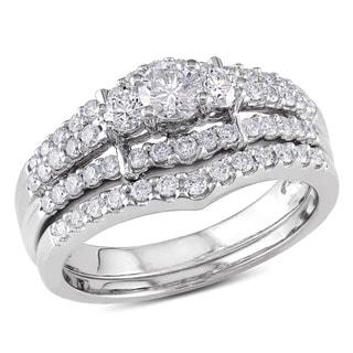 Miadora 14k White Gold 1ct TDW Round Diamond Wedding Ring Set (G-H, I1-I2)