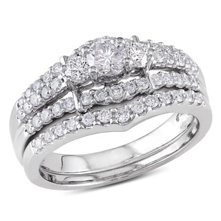 Miadora Signature Collection 14k White Gold 1ct TDW Round Diamond Wedding Ring Set (G-H, I1-I2)
