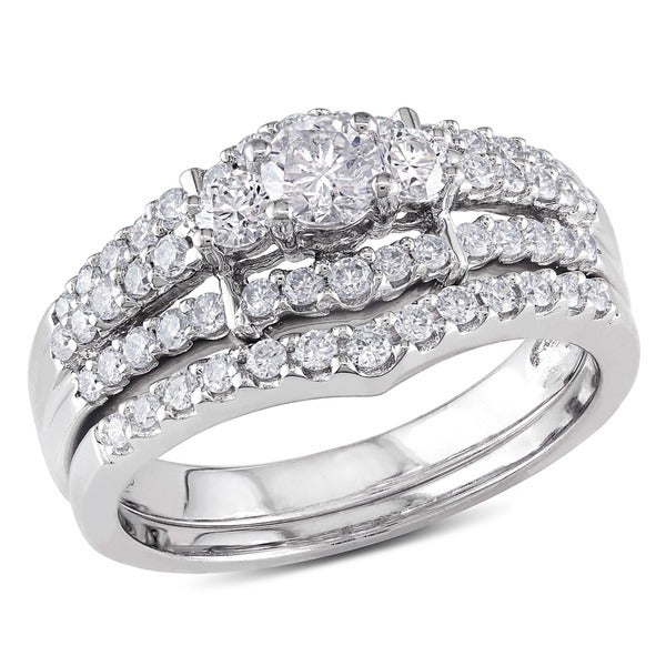 Miadora 14k White Gold 1ct TDW Round Diamond Wedding Ring Set (G-I, I1)