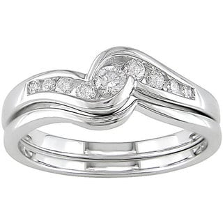 Miadora 14k White Gold 1/4ct TDW Round Diamond Wedding Ring Set (G-I, SI)