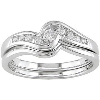 Miadora 14k White Gold 1/4ct TDW Round Diamond Wedding Ring Set (G-I, SI) with Bonus Earrings