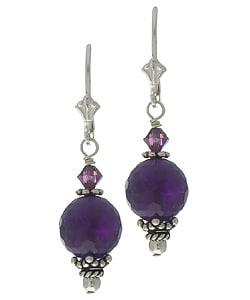 Charming Life Sterling Silver Amethyst and Crystal Earrings