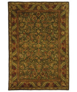 Handmade Antiquities Kerman Charcoal Green Wool Rug (4' x 6')
