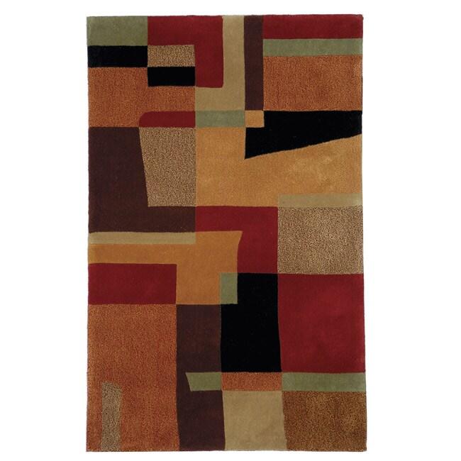Safavieh Handmade Rodeo Drive Modern Deco Rust/ Multi N.Z. Wool Rug (3'6 x 5'6)