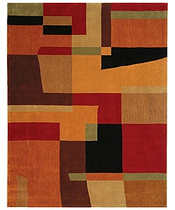 Safavieh Handmade Rodeo Drive Modern Deco Rust/ Multi N.Z. Wool Rug (7'6 x 9'6)
