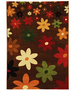 Fine-spun Daises Brown/ Multi Area Rug (5'3 x 7'7)