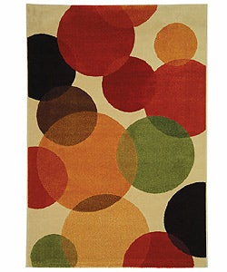 Fine-spun Bubbles Cream/ Multi Area Rug (6'7 x 9'6)