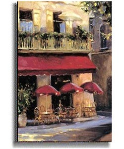 Three Red Umbrellas by Wicks Stretched Canvas Art